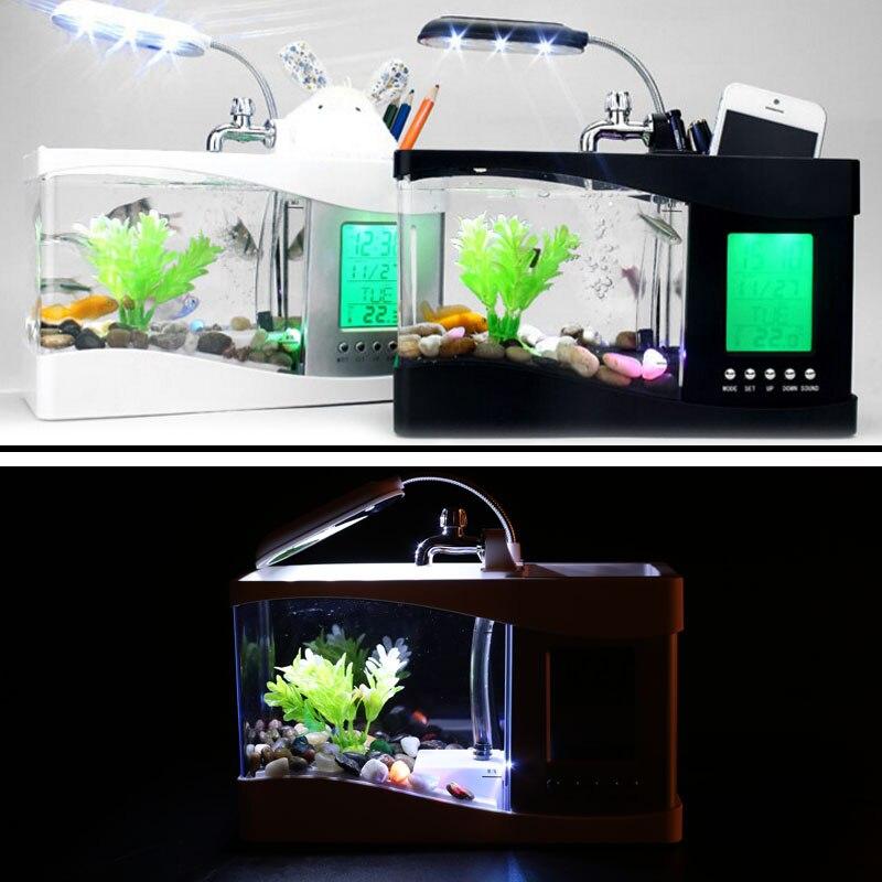 Petit Aquarium Mini Aquarium Aquarium Aquarium bureau lumière LED réveil Durable poisson rouge bol lampe multifonction - 5