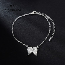 Todorova Bijoux Punk Gothic Vintage Angel Wings Feather Bracelet Bangle for Women Charm Chain Jewelry Girl Gift mujer pulseras