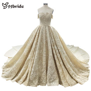 Surmount Luxury Beading Wedding Gown Boat Neck Cap Sleeves Ball Gown Hand Sewing Crystals Cathedral/Royal Train Wedding Dresses