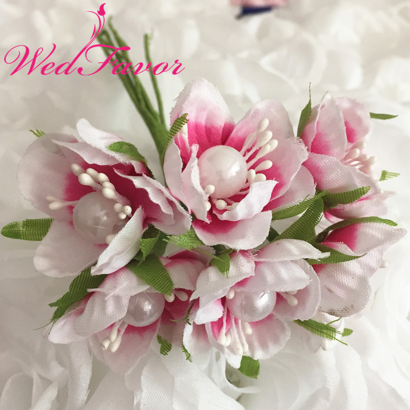 4cm Artificial Fabric Cherry Blossom Flower Bouquet With Pearl Silk ...