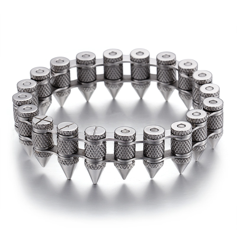Hot Sale Fashion Cool Men Punk Bike Silver Stainless Steel Motorcycle Bicycle Bike Chain Bullet Bracelets Jewelry
