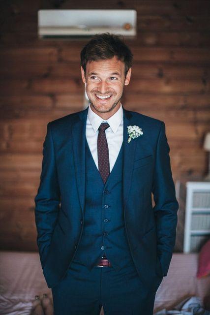 2017 Latest Coat Pant Designs Navy Blue Italian Wedding Suits For Men Custom Slim Fit