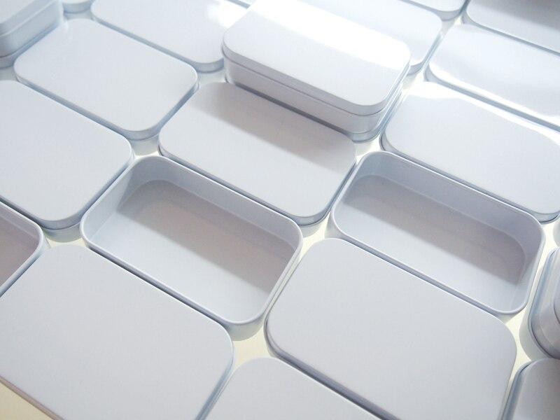 2017 New Arrival white tin box Rectangle gift box sealing plain tin box 95x60x21mm without hinge