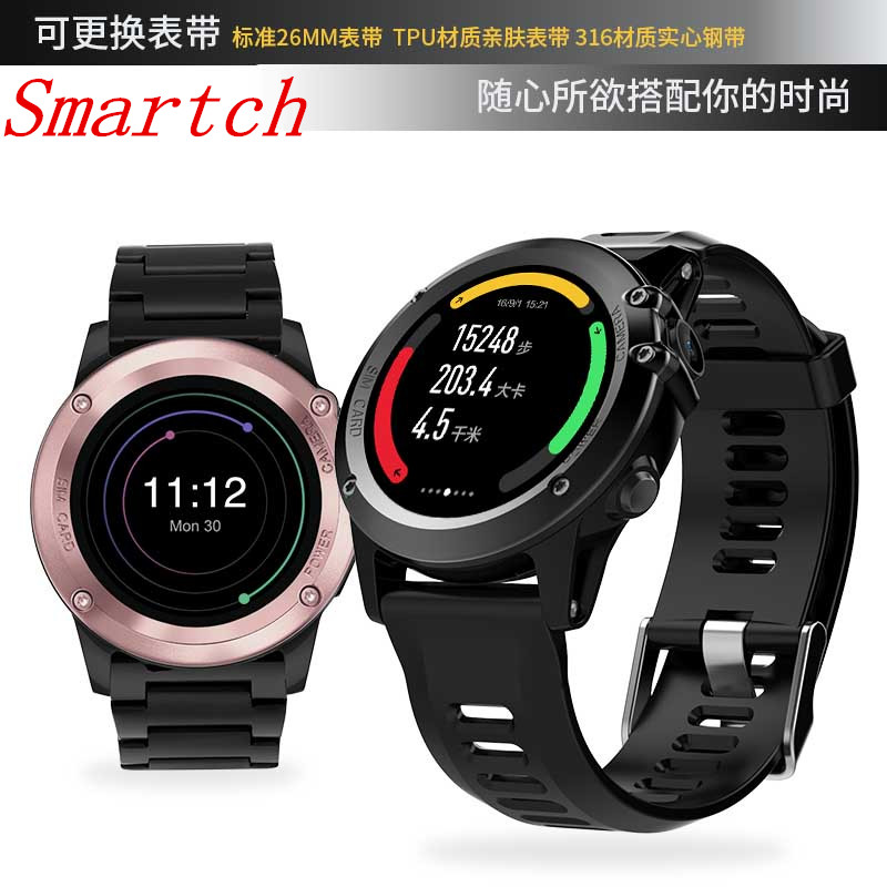 Smartch H1 Smart Watch Android 5.1 OS Smartwatch MTK6572 512MB 4GB ROM GPS SIM 3G Heart Rate Monitor Camera Waterproof Sports Wr gps smart watch men android 5 1 os smartwatch altitude sim 3g wifi heart rate monitor camera ip68 waterproof sports wristwatch