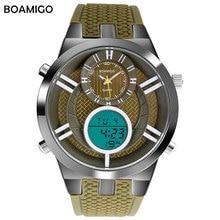 Hommes sport montres bracelet en caoutchouc double affichage quartz montre numérique LED montres BOAMIGO marque militaire 30 M étanche montres