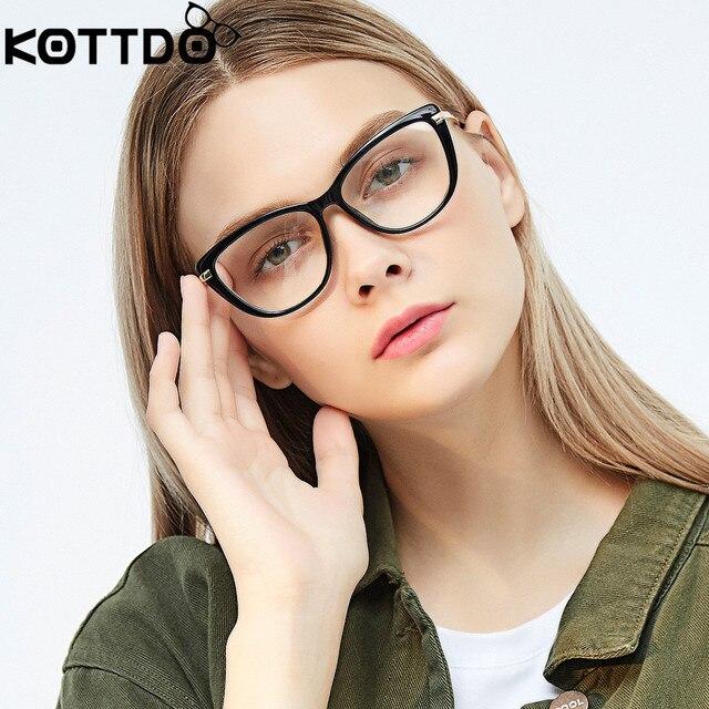 71a361b04db KOTTDO 2019 Computer Glasses Retro Cat Eye Glasses Frames for Women Mens  Eyewear Frames