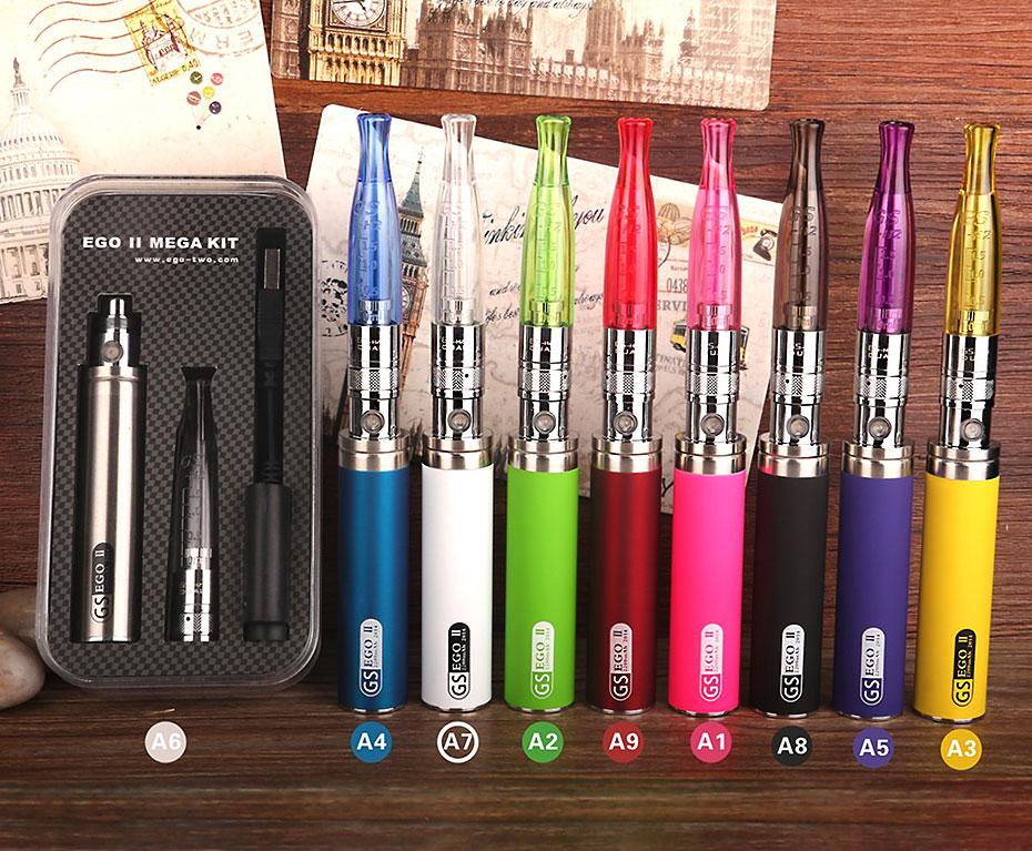 Original GS Ego II Mega Starter Kit Electronic Cigarette Ego II 2200mAh Battery GS H2 Atomizer Vape Vaporizer Pen Kit ECigs