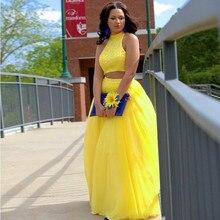 Elegante Halter Duas Peças Prom Vestidos Até O Chão Amarelo Tulle Frisado Formais Vestidos de Festa(China (Mainland))