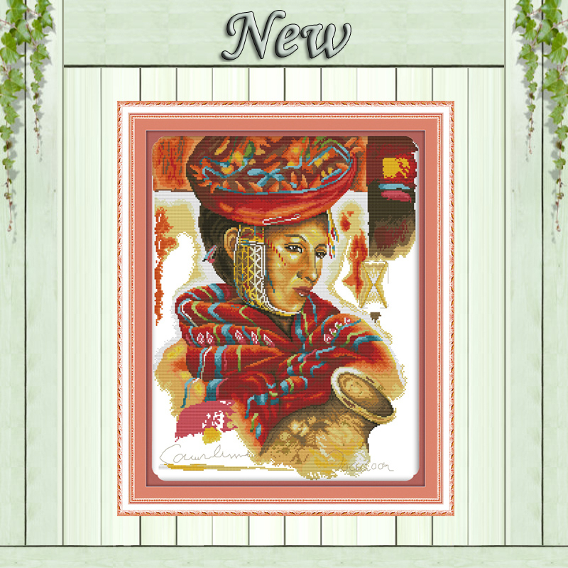 Beauty Woman and clay pot painting Counted Print on canvas DMC 11CT 14CT Cross Stitch kits Needlework Sets embroidery Home Decor
