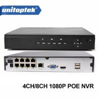 4Ch 8Ch 48V POE CCTV NVR 1080P Support 4Pcs 8Pcs POE IP Camera P2P Onvif CCTV