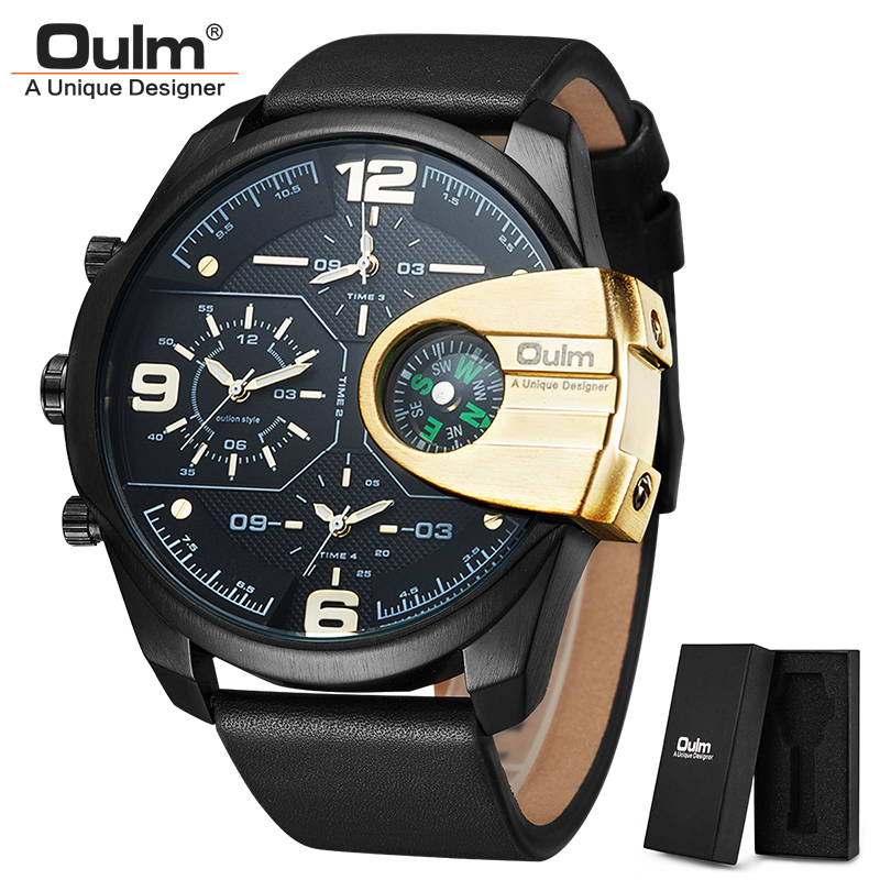 Mens Watches Top Brand Luxury Military Quartz Sport Watch Oulm Unique 3 Small Dials Leather Strap Male Wristwatch Relojes Hombre oulm casual leather sports watches men luxury brand unique designer military watch male quartz wrist watch relojes deportivos