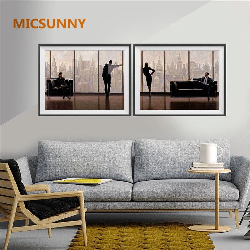 MICSUNNY Nordic Office Canvas Print Painting Women Men