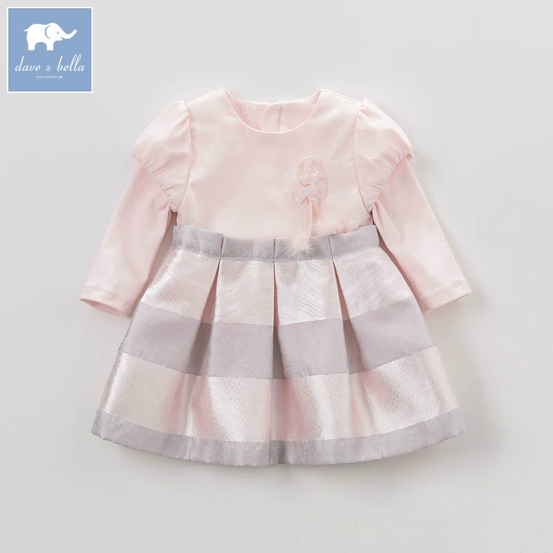 DB4079 dave bella spring infant baby girl's fashion pink dress kids birthday wedding party dress toddler children clothes ювелирные серьги sokolov серьги