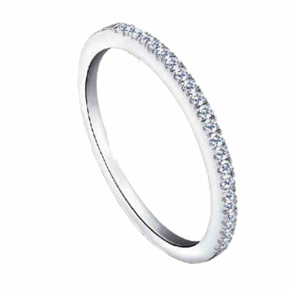 Charming Jewelry Women Micro-fine Inlaid Zircon Circle Ring Fastness Stainless Steel Ring