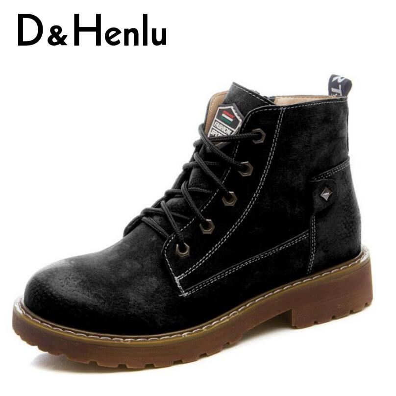 {D&Henlu} New Genuine Leather Shoes Woman Boots 2018 Casual Boots Women Winter Lace Up Martin Boot Platform Heels Low High Boot new 28 color casual boot genuine leather flats shoes shoelace shoes boot lace shoes strap shoeslaces 500pairs lot via dhl ems