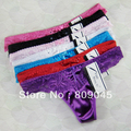 women satin many color  sexy underwear/ladies panties/lingerie/bikini underwear lingerie pants/ thong intimate wear 87155-6pcs