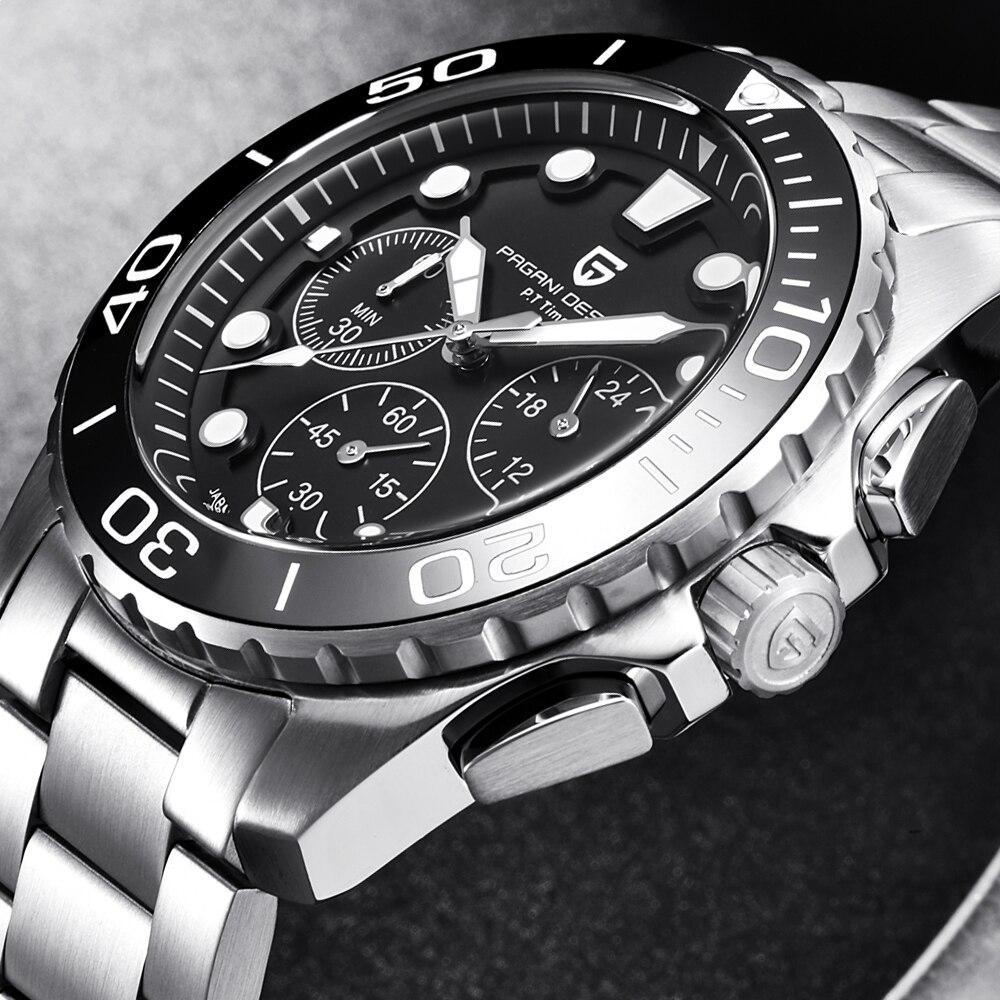 Haute qualité en acier montres hommes de luxe marque Sport montre plongée militaire multifonction Quartz montre-bracelet rotatif boîtier