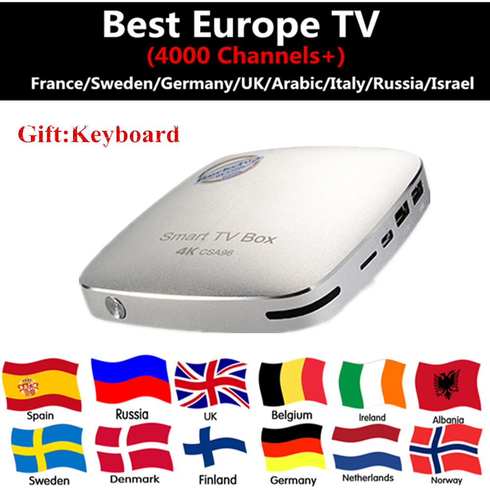 CSA96 TV BOX+France Sweden Israel Russian Arabic UK Nehterland Turkish Germany Italy IPTV 4G/32G Android 6.0 TV BOX Smart tv box 1year iptv t95n set top box italy uk de european iptv box for spain portugal turkish netherlands smart tv box shipping