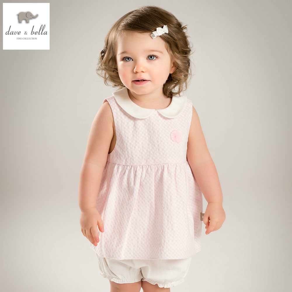 DB4848 dave bella summer baby girls clothing sets child lovely sets kids toddle cloth baby fancy clothes children chothing sets