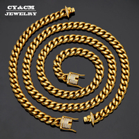 CY&CM 10mm14mm Men Miami Cuban Chain Link Bracelet Iced Out Rhinestone Clasp Necklace Stainless Steel Heavy Hiphop Jewelry Set