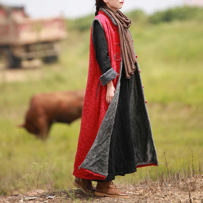 LZJN Rot Winter Weste Frauen Weste Nachgeahmt Lamm Wolle Traditionellen Chinesischen Strickjacke Lange Pelz Weste Damen Ärmellose Veste Femme