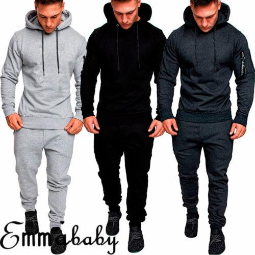 Free Size Matching Men Clothes 2018 Autumn 2 Piece Set Men Tracksuit