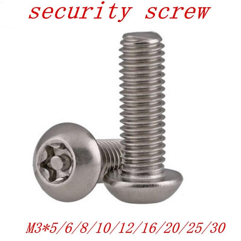 20PCS M3*5/6/8/10/12/16/20/25/30 Pin torx Button Head Tamper Proof Security Screw Anti Theft screw20PCS M3*5/6/8/10/12/16/20/25/30 Pin torx Button Head Tamper Proof Security Screw Anti Theft screw