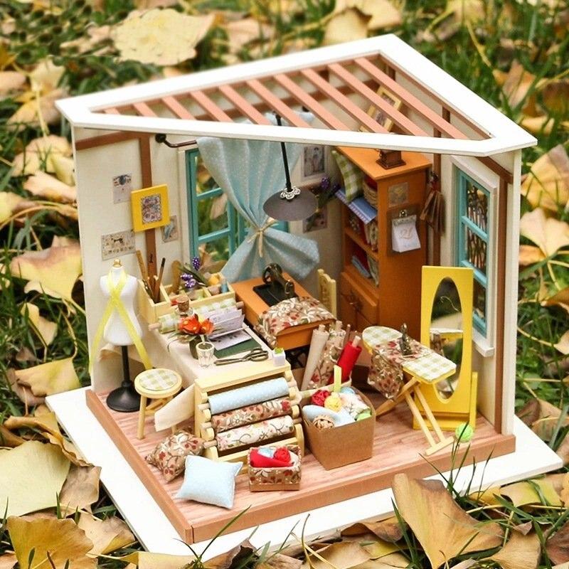 Gematigd 3d Diy Ambachten Meubels Kit Poppenhuis Miniatuur Accessoires Display Houten Decoratie Speelgoed Vriend Aanwezig Kid Childern Voor Poppen