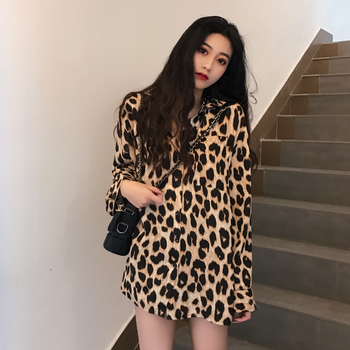 Super Cool Leopard Print Shirt Women Top Long Sleeve Blouse Sexy Spring Autumn Chemise Femme Chemisier Blusa Mujer Camisa blusa sexi animal print