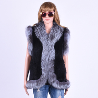 Large Size Autumn And Winter A Woman's Mink Fur Knitted Vest Sleeveless Fox Wool Splice Vest Black A Russian Woman's Fur Coat