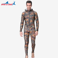 High Quality Men Camouflage Diving Suit One piece Sunscreen Diving Wetsuits Hooded Surf Jellyfish Bathing Suit with Zipper