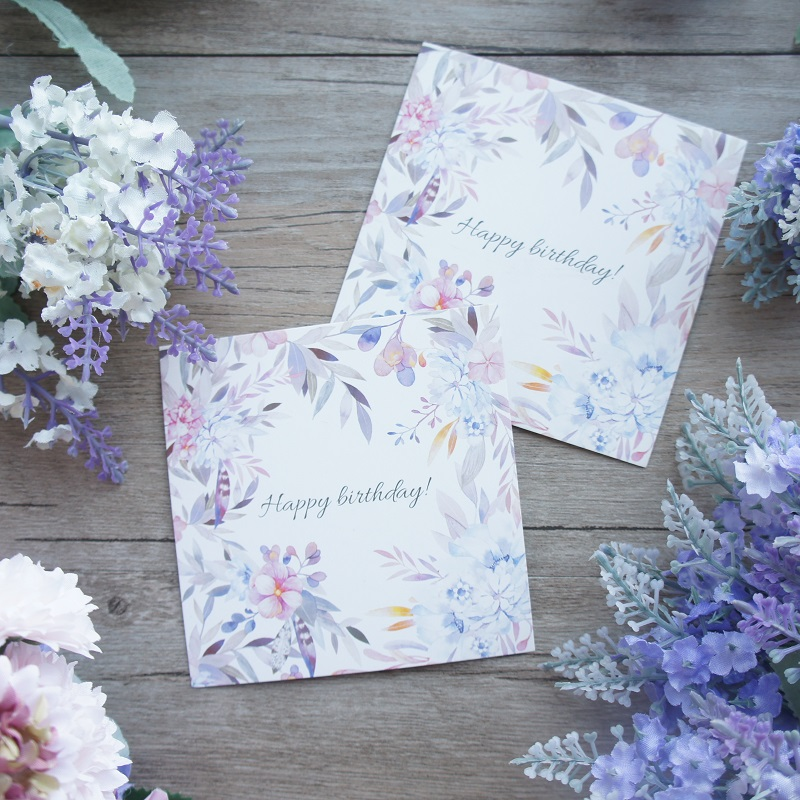 50pcs light purple watercolor flower Happy Birthday card multi-use Scrapbooking invitation DIY Decoration party gift card