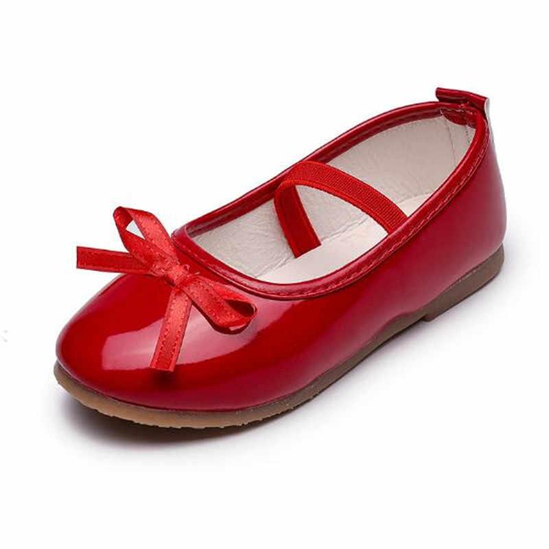 חדש בנות נסיכת Bowtie אופנה רדוד פה ילדי מרי ג 'יין ופרס רך תחתון אדום עור ילדים נעלי