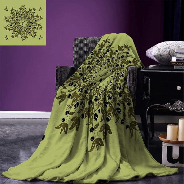 Olive Green Throw Blanket Branches Of Olives Mediterranean Foliage Cool Olive Green Throw Blanket