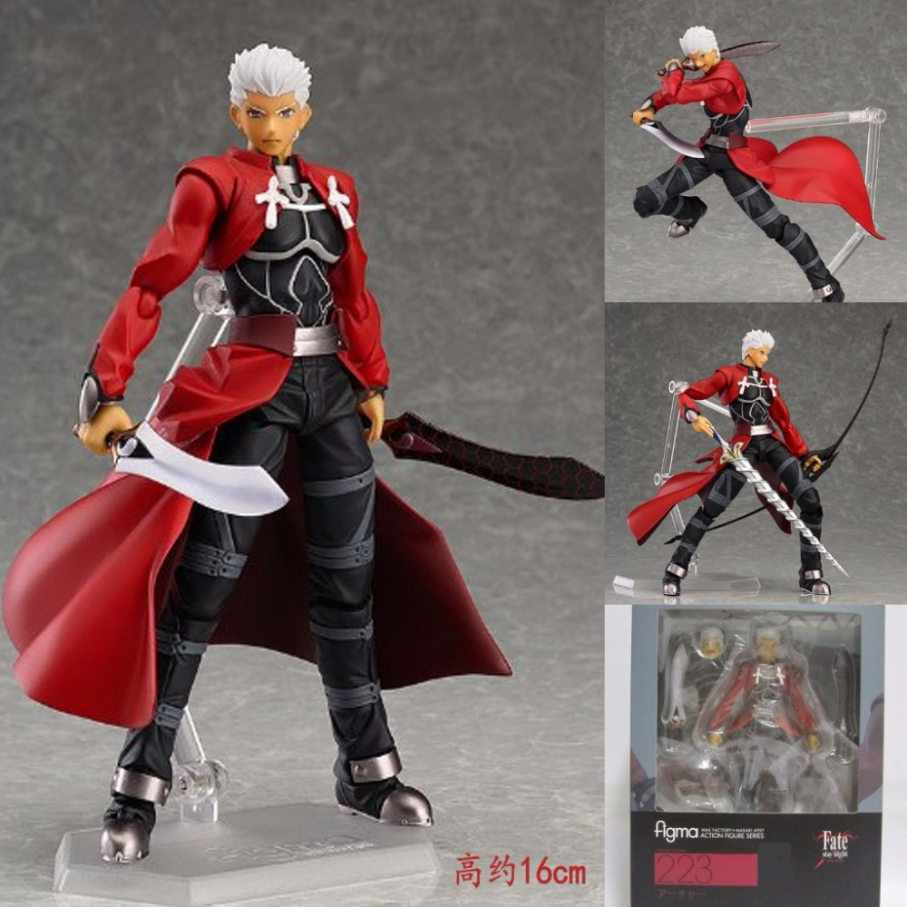 Japanese Anime Fate Stay Night Archer Figma 223 Emiya Shirou PVC Action Figure Collectible Model Kids Toys Doll 16cm Brinquedos metal gear solid action figure sons of liberty figma 298 soldier pvc toy 16cm anime games figures snake collectible model doll