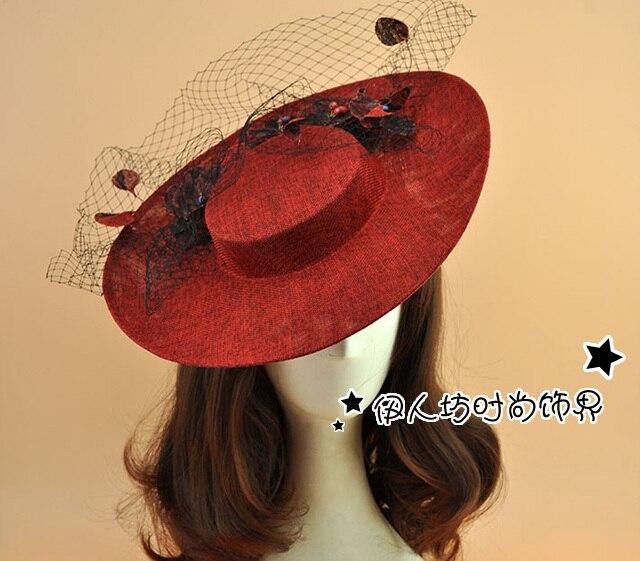 Continental Handmade Linen Hat Deep Red Wedding Hats With Veils Great Gatsby Headpiece Wedding Hair Accessories Feather