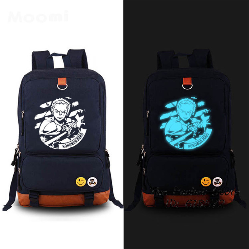 Dropship 2017 New One Piece Luffy Chopper Roronoa Zoro Anime School Bags Luminous Printing Backpack Mochila Feminina Laptop Bag dropship harajuku anime sword art online sao canvas galaxy luminous printing backpack school bags for teenagers mochila feminina