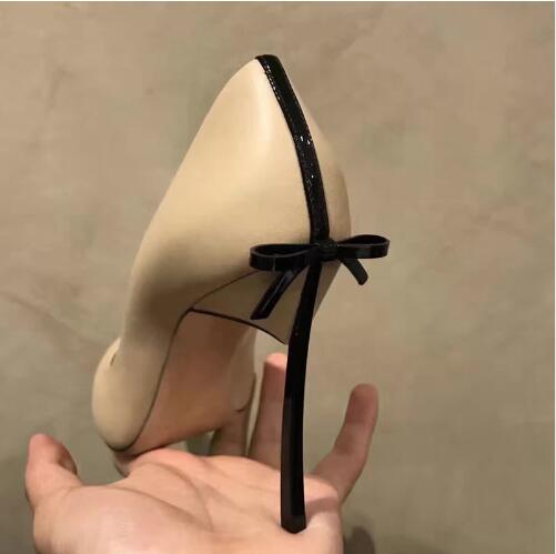 2018 Fashion Black Leather Pointed Toe Women Pumps Slip On Back Embellishe Butterfly Knot Blade Heel Thin High Heels Party Shoes цена
