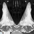2016 New Style White Elegant Flowing Design Border Embroidery Long Lace Wedding Veils and Accessories 3  Meters