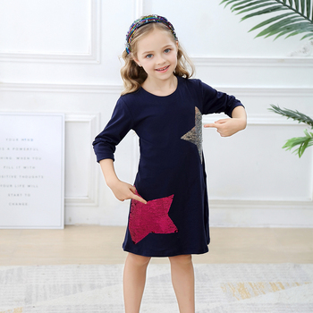Vestido de princesa de lentejuelas para niños 2019 vestido para niñas con apliques de unicornio de algodón de manga larga ropa de princesa para niños