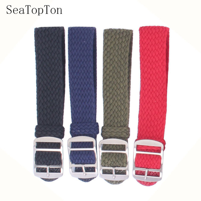 14mm 16mm 18mm 20mm 22mm Solid color Perlon Woven Nylon watchbands bracelet fabric Woven Watch Strap Band Buckle belt black blue