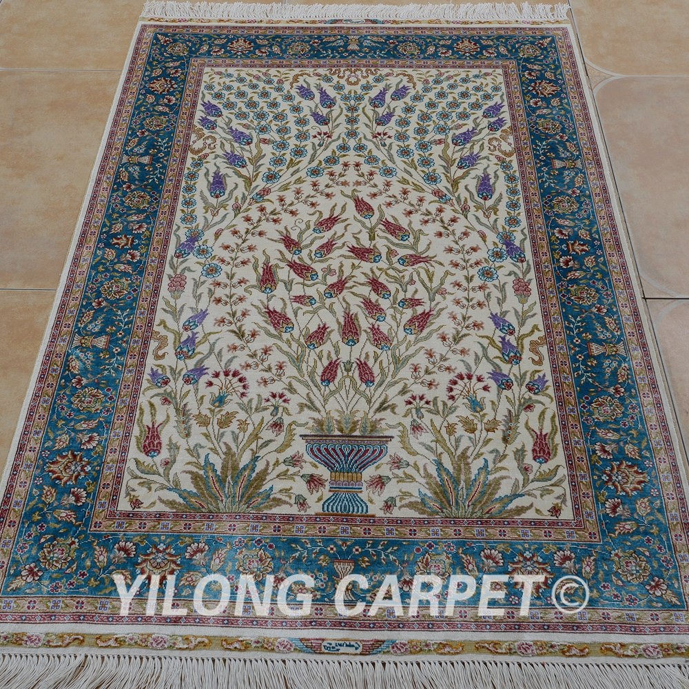 Yilong 3 X4 5 Antique Handmade Silk Area Tree Carpet Hand