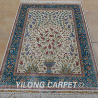 Yilong 3'x4.5' Antique handmade silk area tree carpet hand knotted discount oriental rugs (0045)
