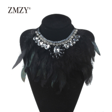 ZMZY Indian Design Maxi Jewelry Exaggerate Black Feather Statement Crystal Collar Necklaces & Pendants Fashion Chokers Necklaces