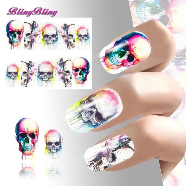 2pcs Halloween Theme Nail Art Sticker Skull Water Decals Nail Design