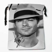 Custom Ian Somerhalder printed Satin storage bag drawstring gift bags More Size storage custom your image 27x35cm