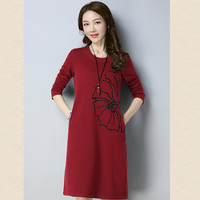 P Ammy Fall Winter Women Dress Fashion Vintage Floral Print Cotton Dresses Long Sleeve Casual Loose Midi Vestidos Plus SizeM~5XL