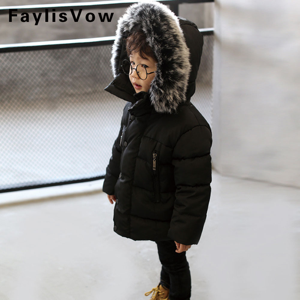 Winter Children Jacket Padded Warm Cotton Coat Boy Girl Fur Collar Hooded Parka Kids Winter Snowsuit Outerwear Chaqueta Guateada 18151312 1522a
