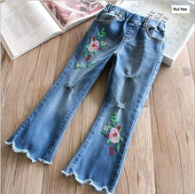 e5811e6a5 Y71232540 2018 New Baby Girl Jeans Embroidery Flower Girl Pants Boot Cut Floral  Girls Clothes Fashion Lolita