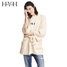 HYH HAOYIHUI Lace Up Pockets Women Sweater Brief Knitted Cardigans Summer Elegant Casual Belted Loose Female